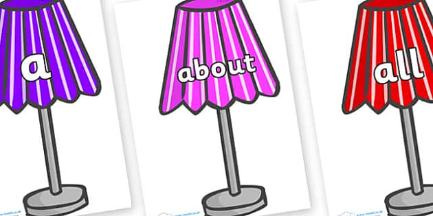 100 High Frequency Words on Lamps - High frequency words, hfw, DfES Letters and Sounds, Letters and Sounds, display words