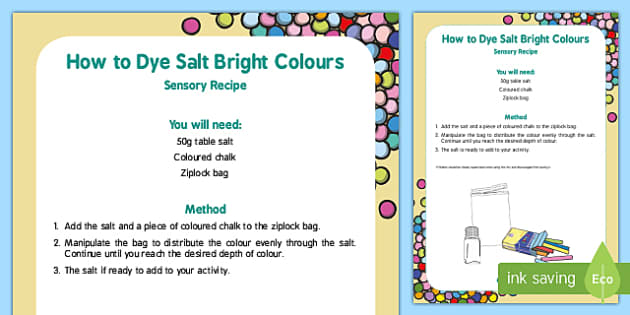 How to Dye Salt Bright Colours Recipe