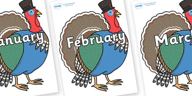 Months of the Year on Turkey Lurky - Months of the Year, Months poster, Months display, display, poster, frieze, Months, month, January, February, March, April, May, June, July, August, September