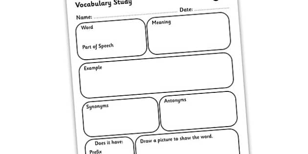 Vocabulary Word Study Worksheet vocabulary worksheet word – Vocabulary Worksheet