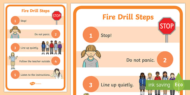 Fire Drill A4 Display Poster - Beginning of School Resources, fire, drill, fire drill, emergency, steps, poster, display, safety
