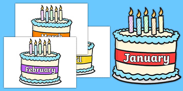 Months of the Year on Birthday Cakes - month, years, birthday