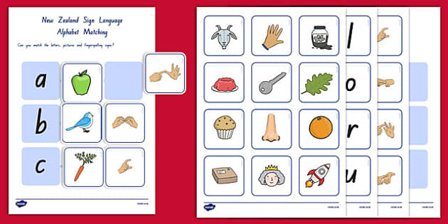 New Zealand Sign Language Alphabet Matching Pack - nz, new zealand, sign language, alphabet, matching
