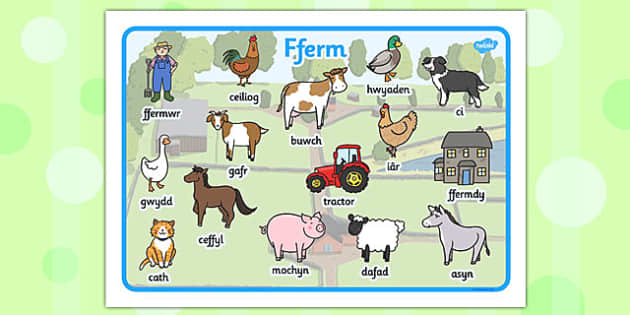 Mat Geiriau 'Ar y Fferm' - animals, KS1, Key Stage 1, eary years, display, visual aid