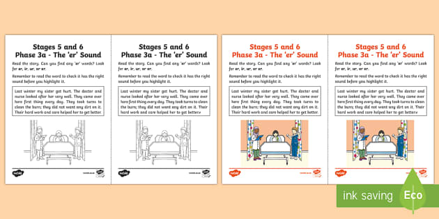 Linguistic Phonics Stage 5 and 6 Phase 3a, 'er' Sound Activity Sheet - Linguistic Phonics, Phase 3a, 'er' sound, Northern Ireland, text, highlight, search,Worksheet