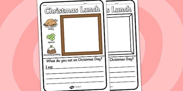Christmas Lunch Writing Frame - christmas, writing frame, writing