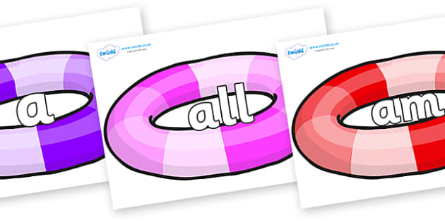 Foundation Stage 2 Keywords on Inflatable Rings - FS2, CLL, keywords, Communication language and literacy,  Display, Key words, high frequency words, foundation stage literacy, DfES Letters and Sounds, Letters and Sounds, spelling