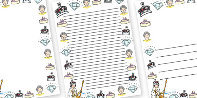 Diamond Jubilee Page Borders - diamon jubilee, jubilee, queen, queen's, wedding anniversary, roay family, Queen Elizabeth II, Elizabeth II, page border, border, writing template, writing aid