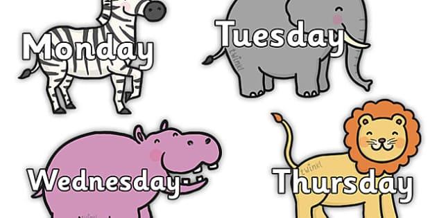 Day of the Week on Safari Animals - safari, on safari, safari animals, days of the week on safari animals, safari calendar, safari calendar display