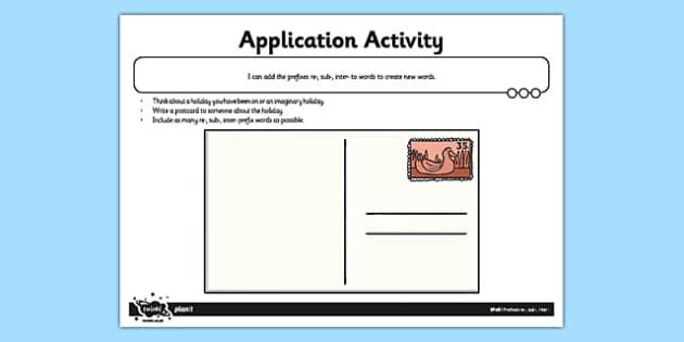 Prefixes re, sub, inter Application Activity Sheet - GPS, grammar, spelling, punctuation, root word, worksheet