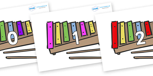 Numbers 0-50 on Glockenspiels - 0-50, foundation stage numeracy, Number recognition, Number flashcards, counting, number frieze, Display numbers, number posters