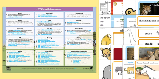 EYFS Safari Enhancement Ideas and Resources Pack - EYFS, Early Years Planning, continuous provision, Safari, Africa, African animals, elephant, lion, c