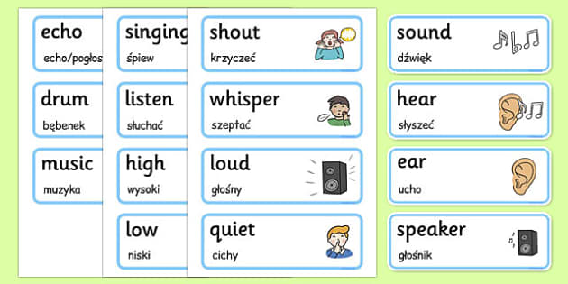 Sound and Hearing Topic Words Polish Translation - polish, sound, hearing, topic, words