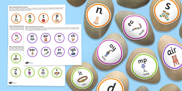 Phonic Phases 2 5 Sounds Stone Cut Outs Pack - early years, independent, english, literacy, speaking and listening, phonics, sounds, feel, kinaesthetic, ks1, key stage 1