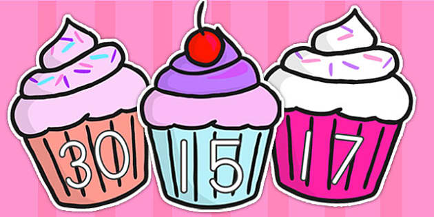 0 30 Numbers On Cupcakes - counting, counting aid, cupcake, cakes