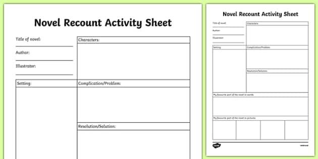 Novel Recount Activity Sheet-Irish, worksheet