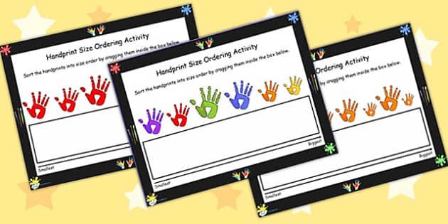 Handprint Size Ordering For IWB - handprint, size, order, IWB