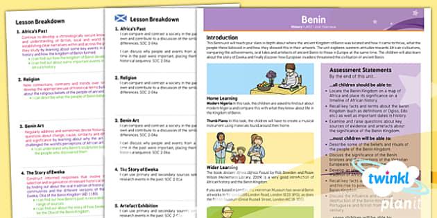 PlanIt - History UKS2 - Benin Planning Overview CfE - planit, history, overview, cfe