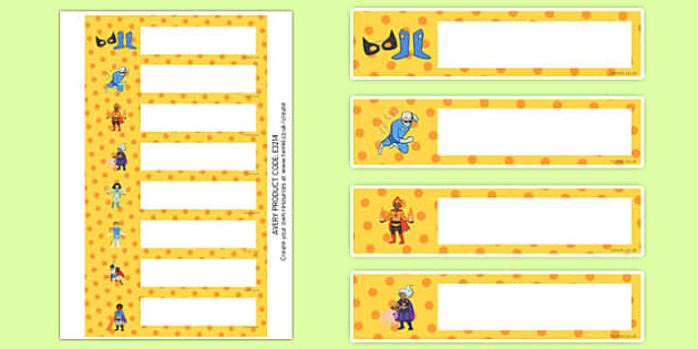 Superhero Themed Gratnells Tray Labels - superheroes, labels