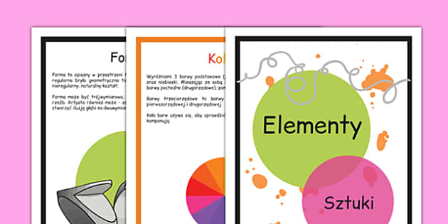 Plakaty Elementy sztuki po polsku - plastyka, sztuka, dzieło - Polish, Poland, EAL, art, art and design, design, line, colour, texture, shape, form, space, value, tone, size, vocabulary