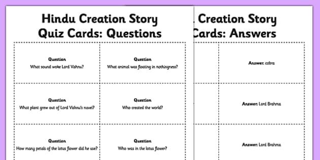 Hindu Creation Story Quiz Cards
