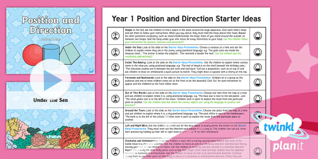 PlanIt Y1 Position and Direction Starter Ideas Pack - Position, direction and movement, Describe position, direction and movement, including whole, half,