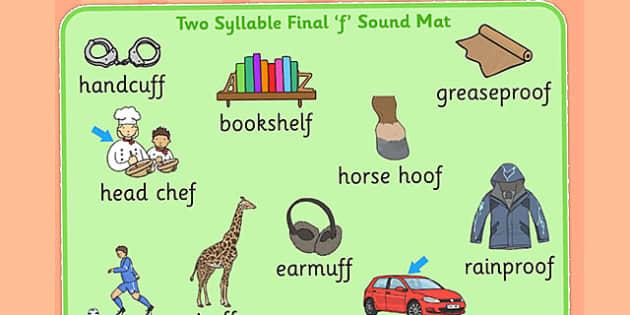 Two Syllable Final 'F' Sound Word Mat - final f, sound, mat
