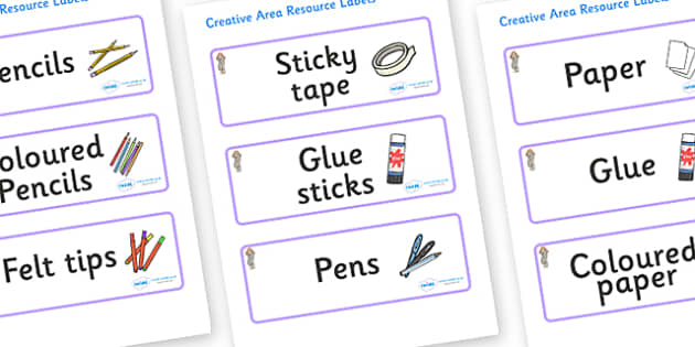 Selkie Themed Editable Creative Area Resource Labels - Themed creative resource labels, Label template, Resource Label, Name Labels, Editable Labels, Drawer Labels, KS1 Labels, Foundation Labels, Foundation Stage Labels