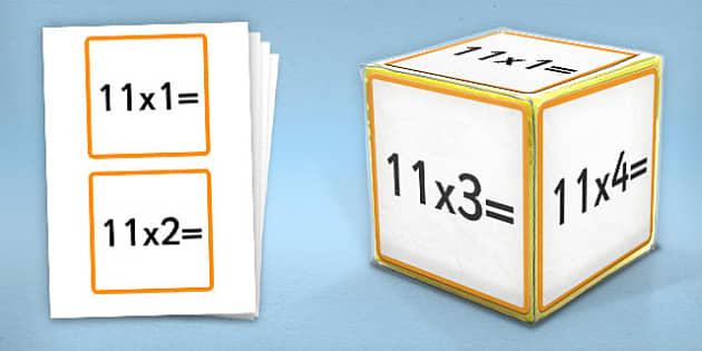 Giant Foam Dice Squares 11 Times Tables - foam dice, squares, 11