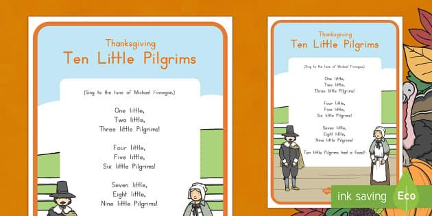 Ten Little Pilgrims Song Lyrics