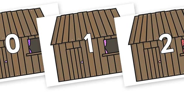 Numbers 0-50 on Wooden Houses - 0-50, foundation stage numeracy, Number recognition, Number flashcards, counting, number frieze, Display numbers, number posters