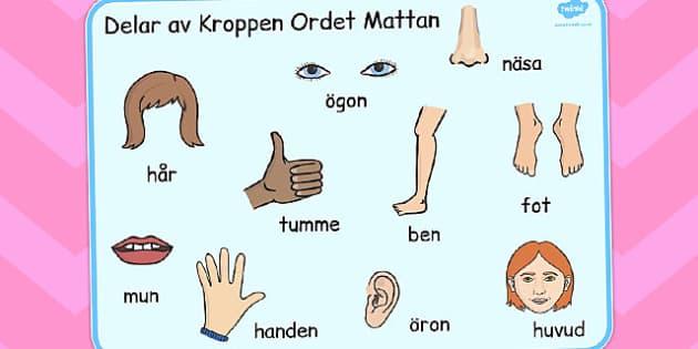 Parts of the Body Word Mat Swedish - swedish, body, parts, mat