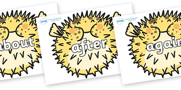 KS1 Keywords on Pufferfish - KS1, CLL, Communication language and literacy, Display, Key words, high frequency words, foundation stage literacy, DfES Letters and Sounds, Letters and Sounds, spelling