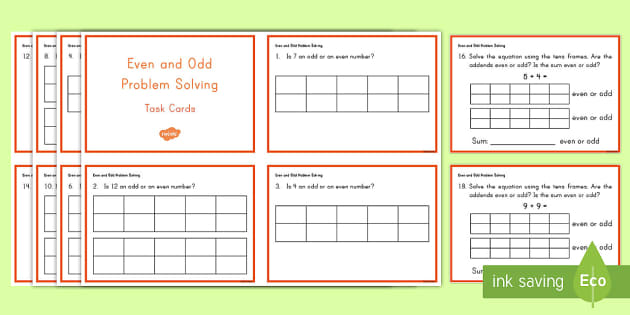 Even and Odd Problem Solving Task Cards - Common Core Second Grade Math Task Cards, CC 2.OA.C.3