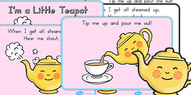 I'm a Little Teapot Story Sequencing - Teapot, A4, Black, White