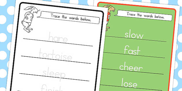 The Tortoise and the Hare Trace the Words Worksheet - australia