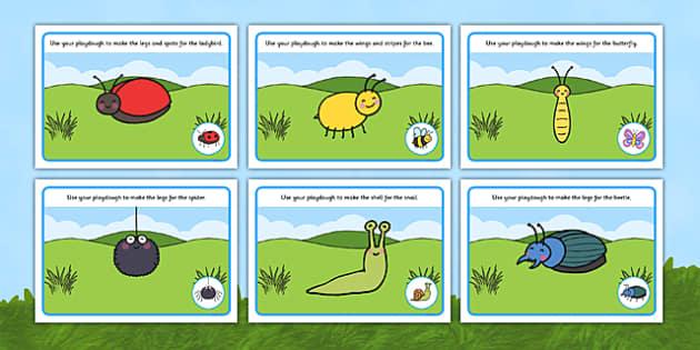 Minibeast Playdough Mats - Number Playdough mat, playdough resources, numeracy, numbers, playdough,  knowledge and understanding of the world, investigation, living things, snail, bee, ladybird, butterfly, spider