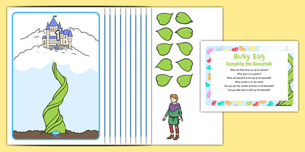 Complete the Beanstalk Busy Bag Prompt Card and Resource Pack - Jack and the Beanstalk, EYFS, Maths, counting