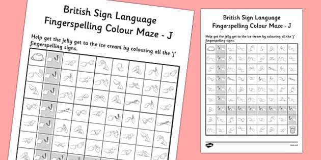 British Sign Language Fingerspelling Colour Maze J - colour, maze