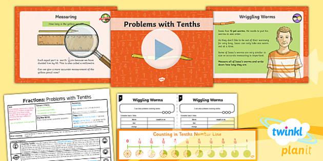 PlanIt Y3 Fractions Lesson Pack Solve Problems Involving Fractions (1) - Fractions, problem solving, measuring, cm, centimetres, mm, millimetres, tenths, decimals, ordering fractions, ordering tenths