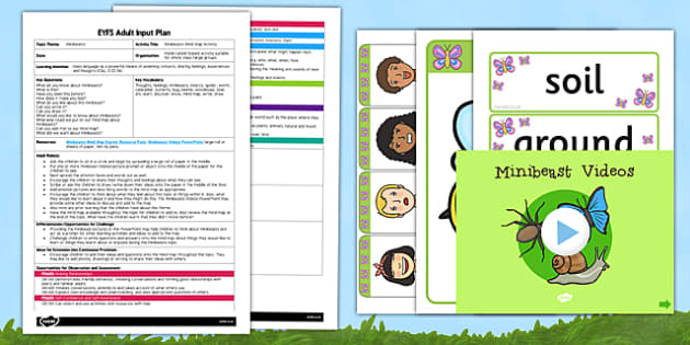 Minibeasts Mind Map Starter Activity EYFS Adult Input Plan and Resource Pack - EYFS, Early Years planning, adult led, insects, C&L, Communication and Language