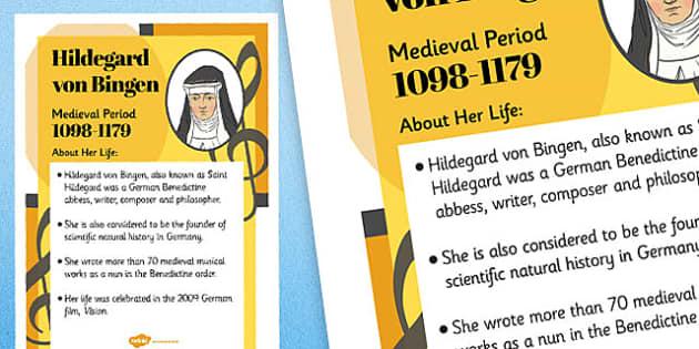 Hildegard Von Bingen Composer Display Poster - music, female, composers, hildegard von bingen