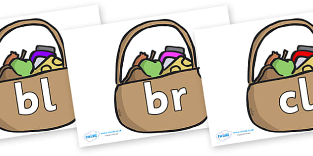 Initial Letter Blends on Baskets - Initial Letters, initial letter, letter blend, letter blends, consonant, consonants, digraph, trigraph, literacy, alphabet, letters, foundation stage literacy