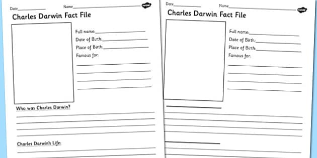 Charles Darwin Significant Individual Fact Sheet Writing Frame
