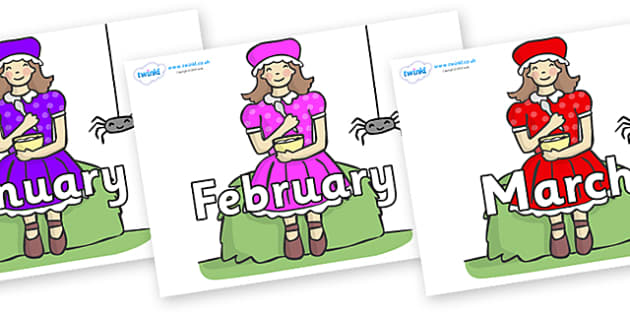 Months of the Year on Little Miss Muffet - Months of the Year, Months poster, Months display, display, poster, frieze, Months, month, January, February, March, April, May, June, July, August, September