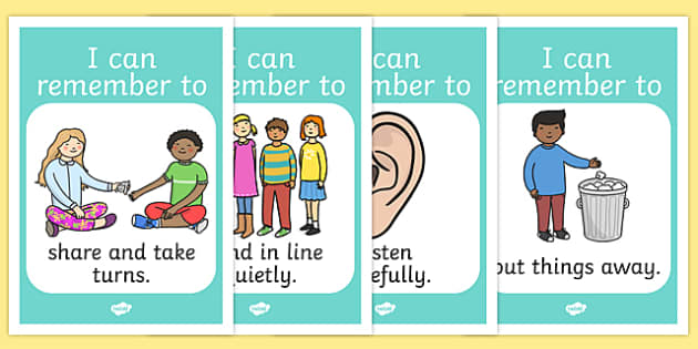 Good Manners Display Posters - Good manners, good behaviour, class management, behaviour management, SEN, put away, tidy up, share, hands up, polite, indoor voice