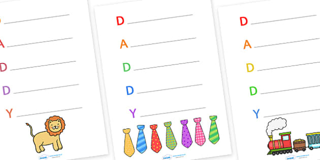 Father's Day Acrostic Poem Writing Frames Daddy - father, poems