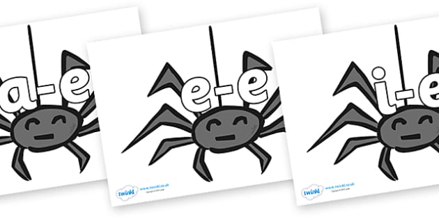 Modifying E Letters on Spiders - Modifying E, letters, modify, Phase 5, Phase five, alternative spellings for phonemes, DfES letters and Sounds