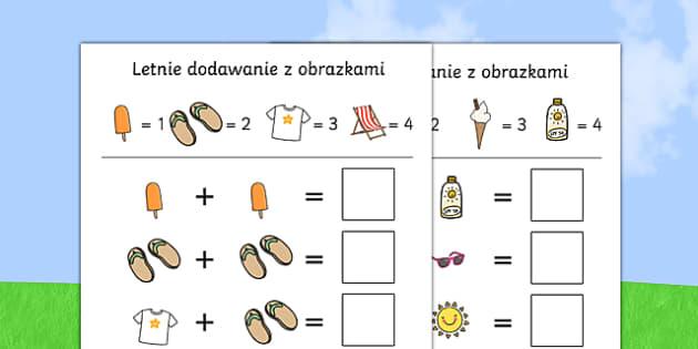 Karta Letnie dodawanie z obrazkami po polsku, worksheet