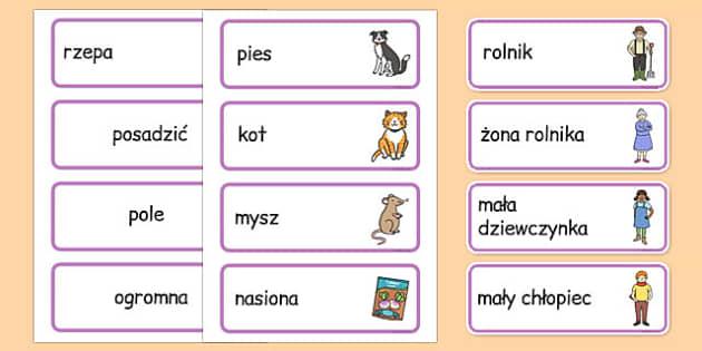 Karty ze słownictwem Rzepka po polsku - bajki, baśnie